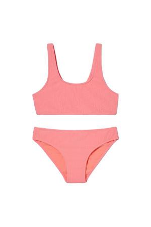 crop bikini met structuur roze