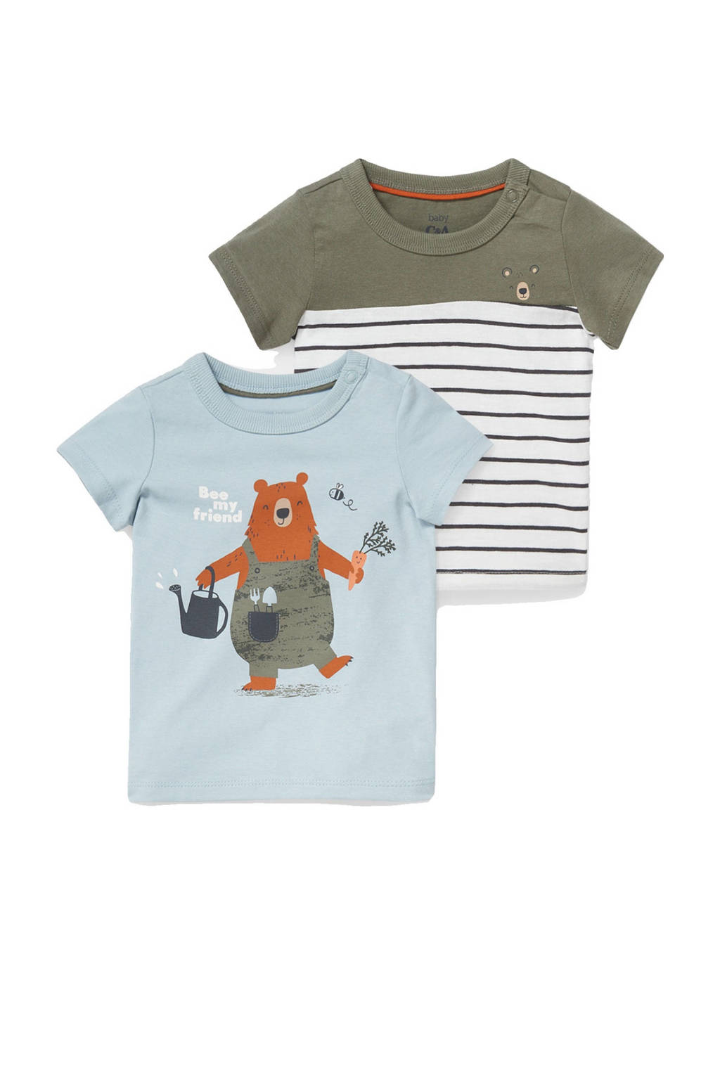 C&A Baby Club T-shirt - set van 2 blauw/wit/donkergroen, Blauw/wit/donkergroen