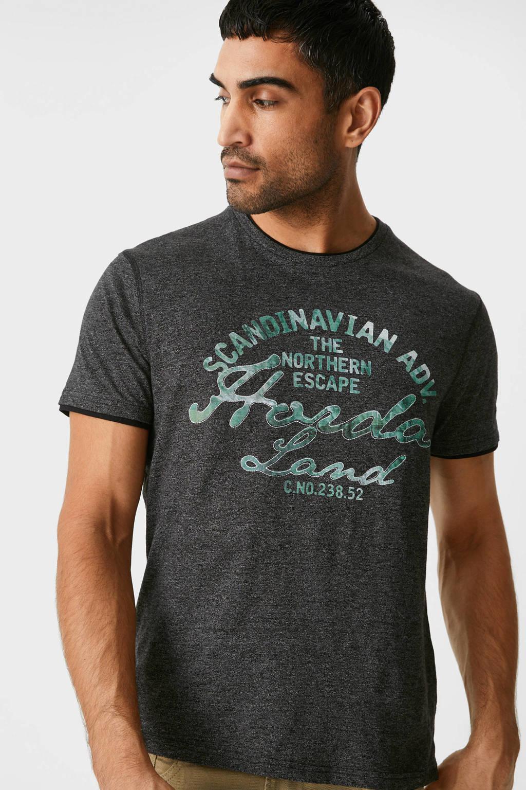 C&A T-shirt met printopdruk zwart, Zwart