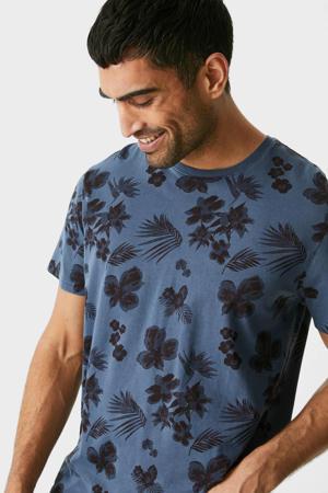 gebloemd T-shirt donkerblauw