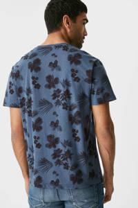C&A gebloemd T-shirt donkerblauw, Donkerblauw