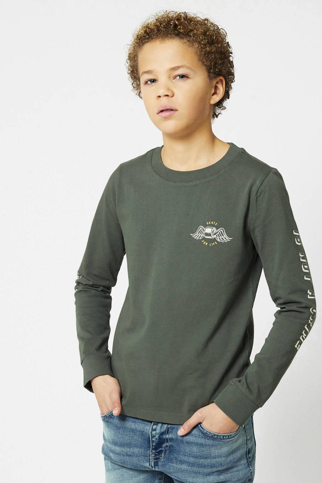 America Today Junior longsleeve Lawson met printopdruk army groen/ecru, Army groen/ecru