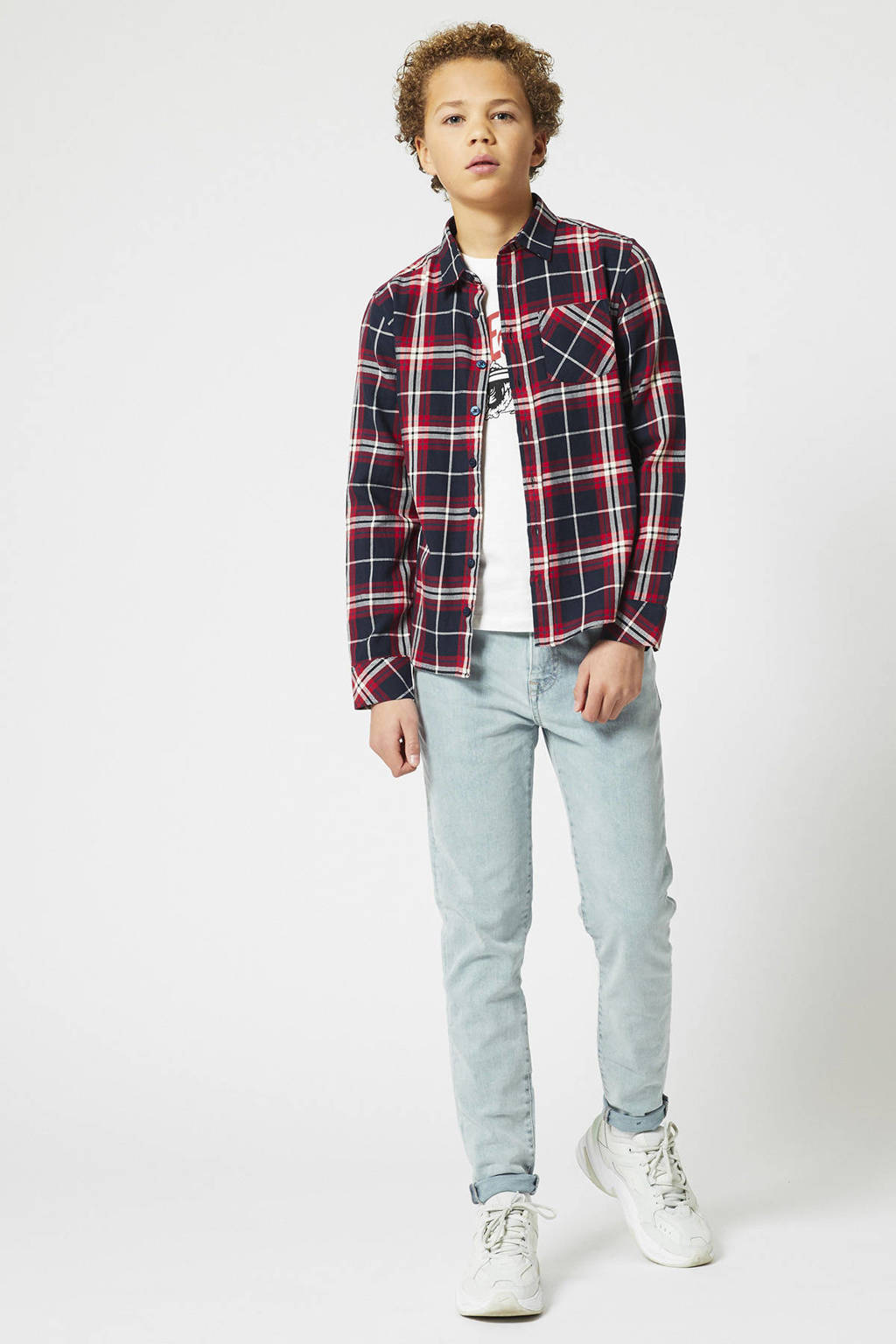 America Today Junior geruit overhemd rood/donkerblauw, Rood/donkerblauw