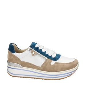 suède plateau sneakers wit/multi