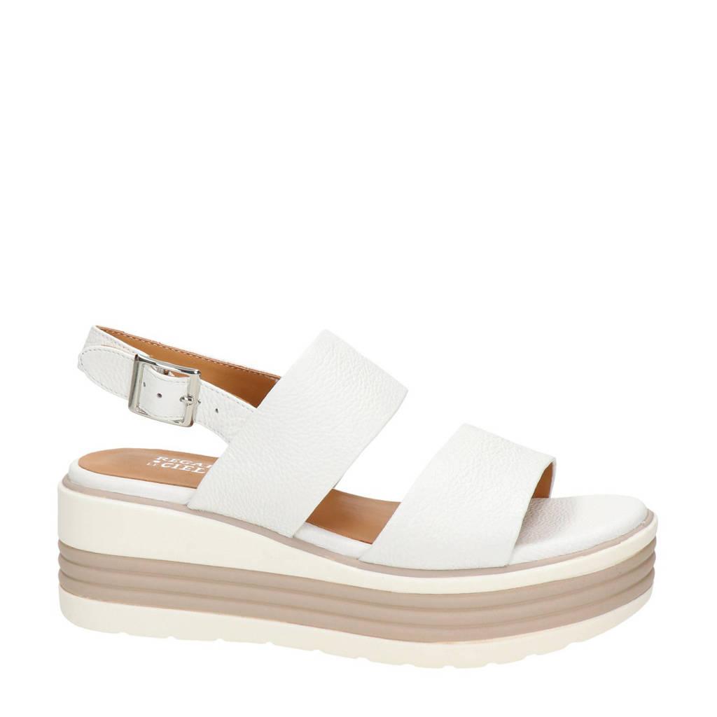 Regarde le ciel Sheyla  leren plateau sandalen wit, Wit