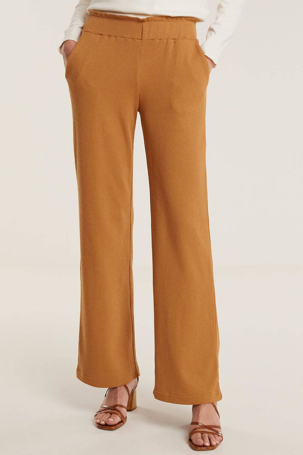Another-Label broek Arielle met textuur lichtbruin, Lichtbruin