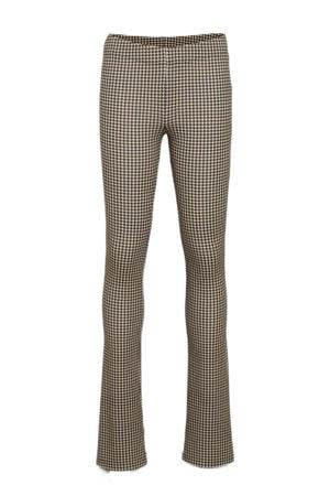 flared broek met all over print zwart/zand