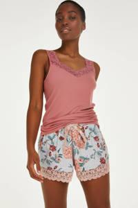 Hunkemöller gebloemde pyjamashort met kant grijs/zalmroze, Grijs/zalmroze