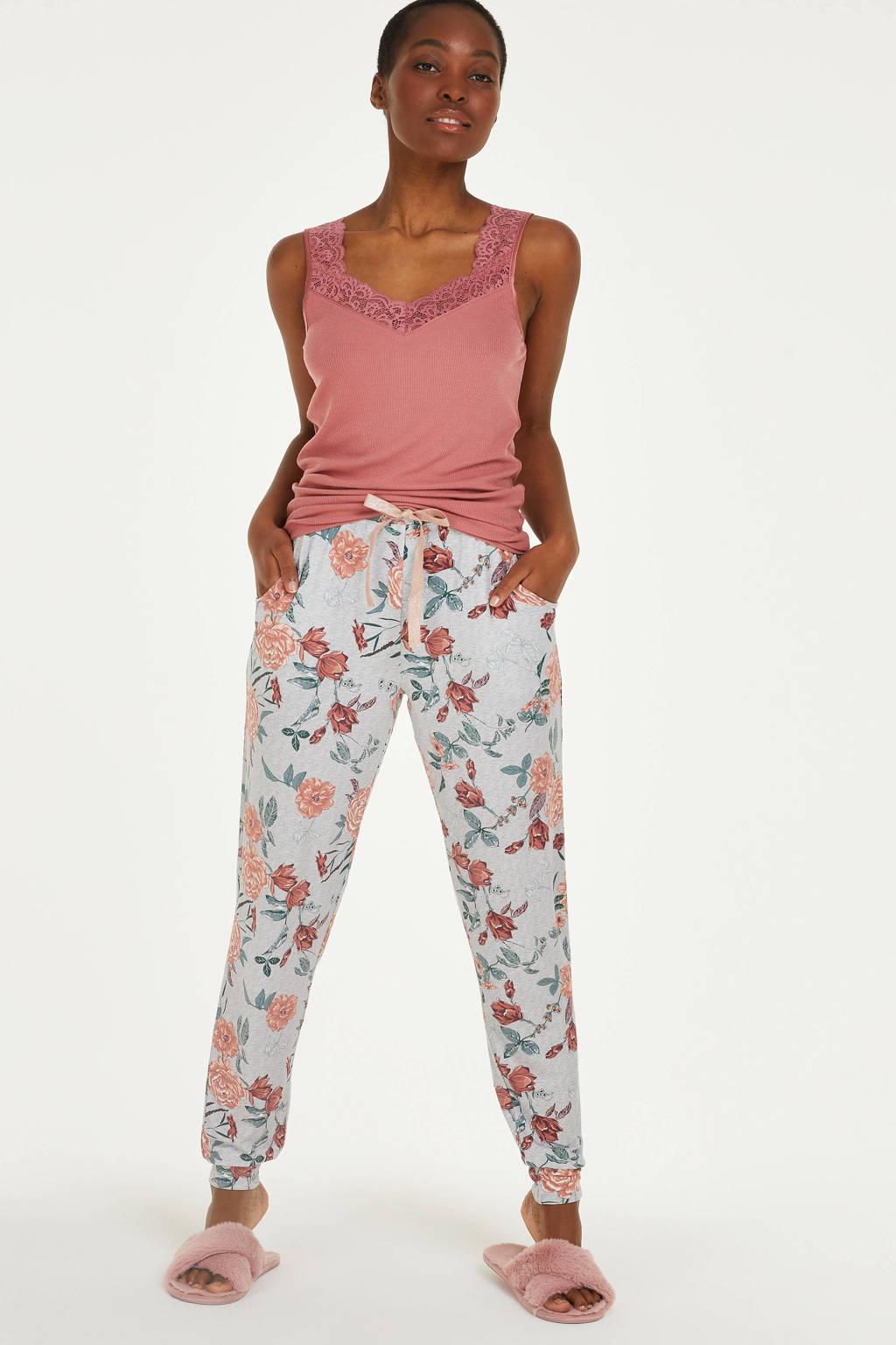 Hunkemöller gebloemde pyjamabroek grijs/roze/groen, Grijs/roze/groen
