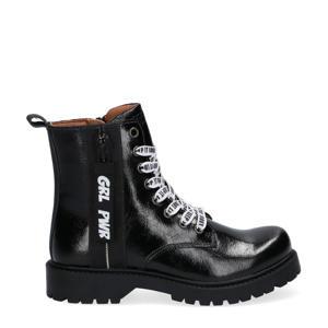 Belle Boot  lakleren veterboots zwart