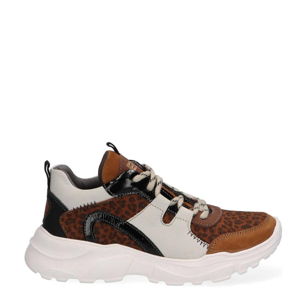 Braqeez Robin Run  leren chunky sneakers met panterprint bruin, Bruin/wit