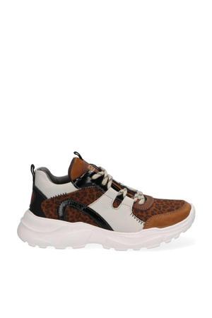 Robin Run  leren chunky sneakers met panterprint bruin
