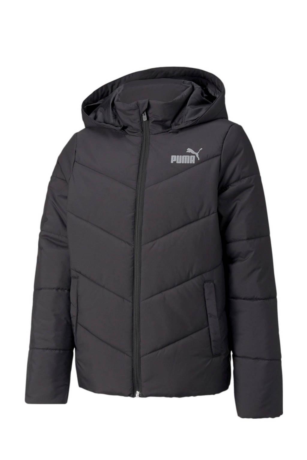 Puma gewatteerde jas met logo zwart, Zwart