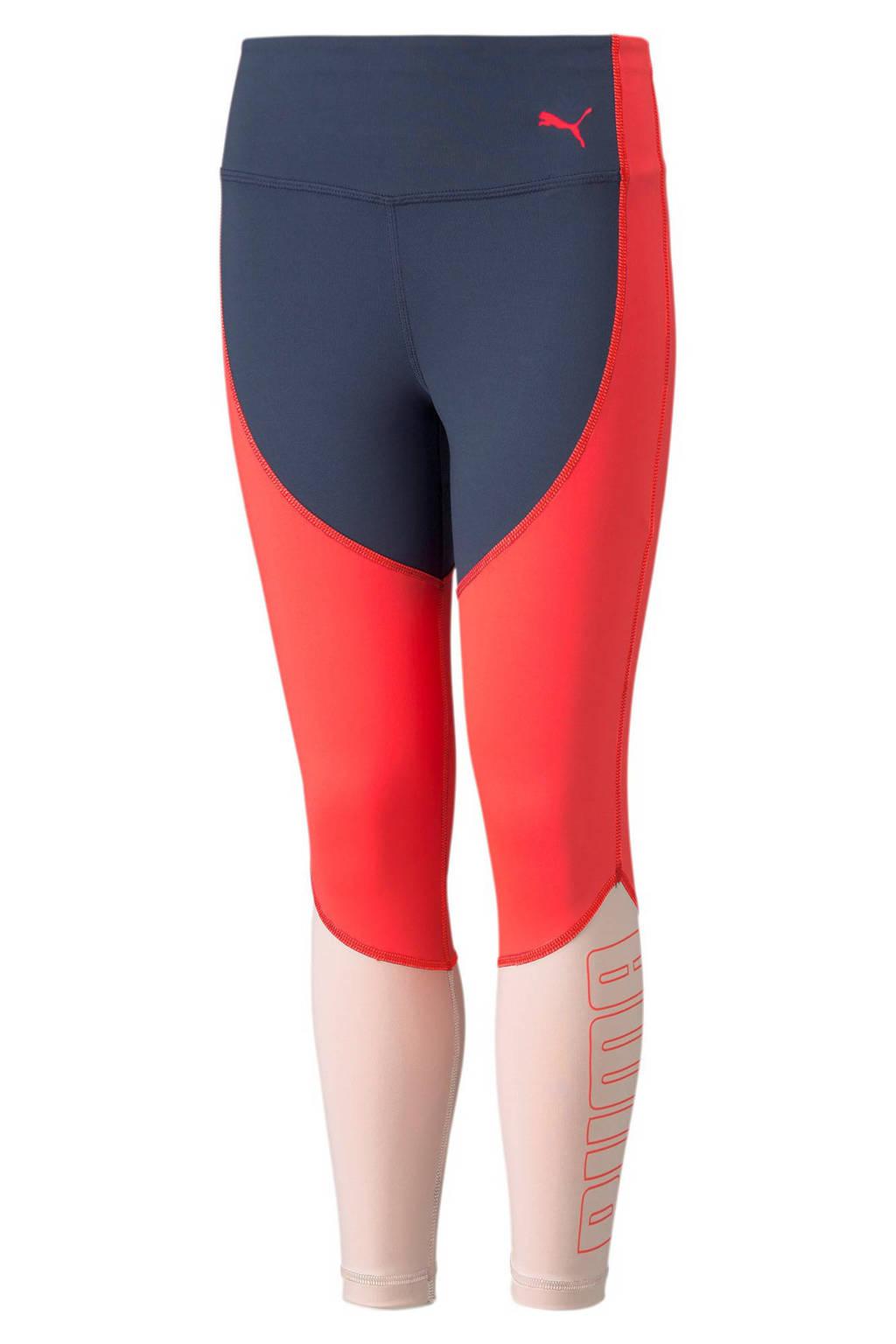 Puma legging met logo rood/lichtroze/donkerblauw, Rood/lichtroze/donkerblauw