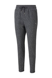 Puma regular fit broek met logo zwart melange, Zwart melange