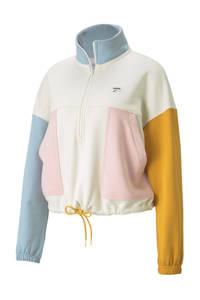 Puma sweater Downtown ecru/lichtblauw/geel, Ecru/lichtblauw/geel