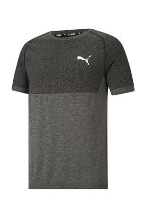 gemêleerd slim fit T-shirt zwart melange