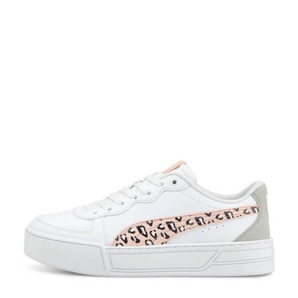 Puma Skye Roar Jr  sneakers met panterprint wit/lichtroze, Wit/Lichtroze/Beige