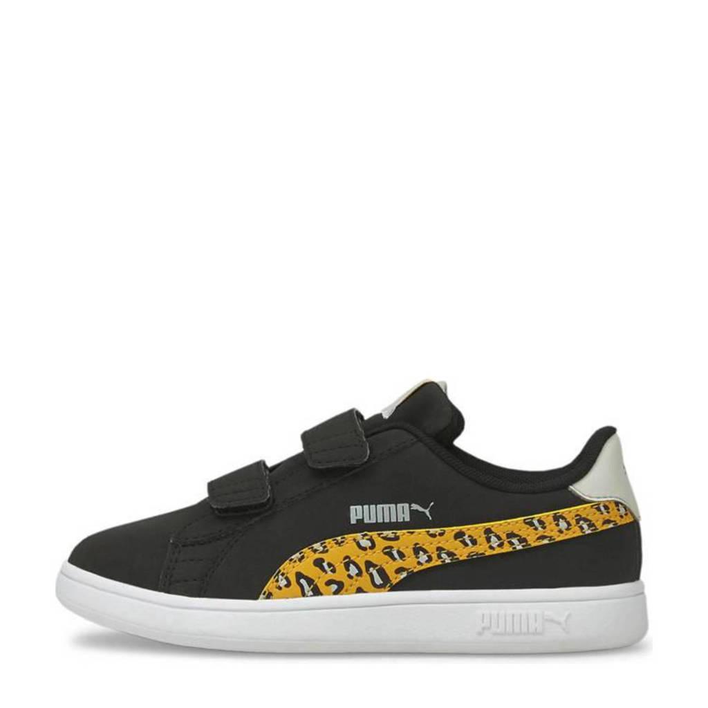 Puma Smash v2 Roar V PS  sneakers met panterprint zwart/geel, Zwart/wit/geel