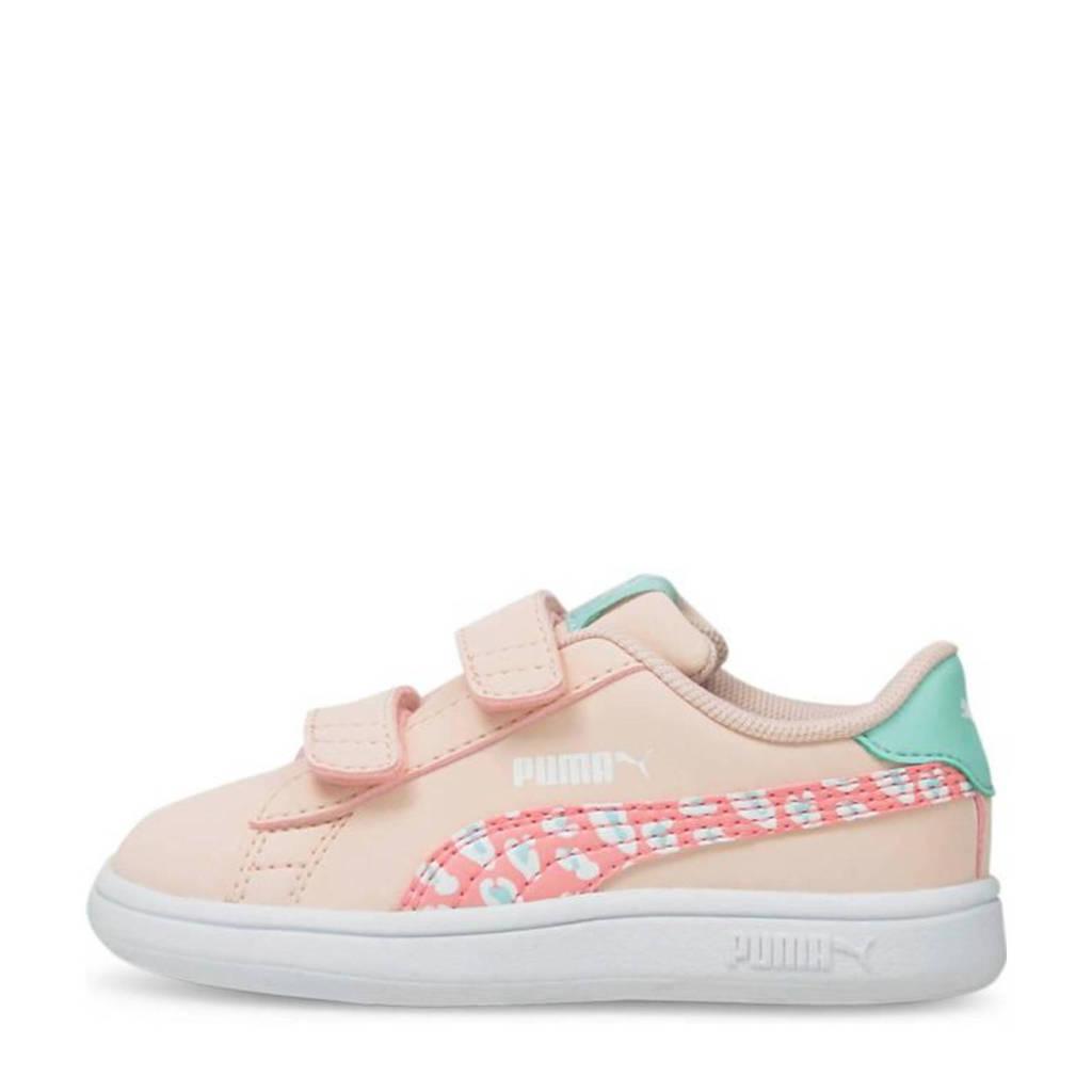 Puma Smash v2 Roar V Inf  sneakers met panterprint roze/blauw, Roze/blauw