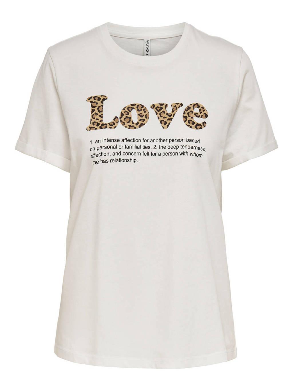 ONLY T-shirt ONLKITA met tekst ecru, Ecru