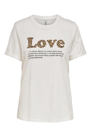 T-shirt ONLKITA met tekst ecru