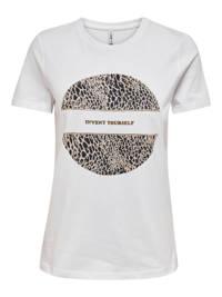 ONLY T-shirt ONLJENNA met printopdruk wit, Wit