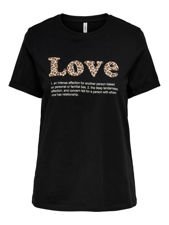 ONLY T-shirt ONLKITA met tekst zwart, Zwart