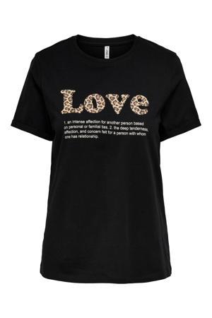 T-shirt ONLKITA met tekst zwart
