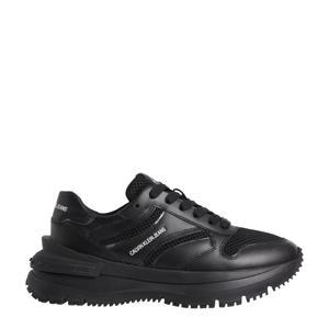 leren chunky sneakers zwart