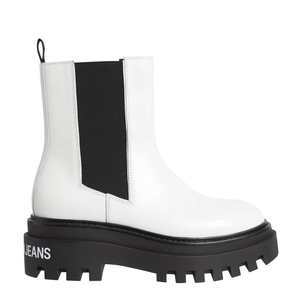 CALVIN KLEIN JEANS   leren chelsea boots wit/zwart, Wit/zwart