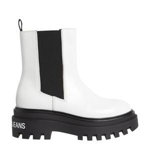 leren chelsea boots wit/zwart