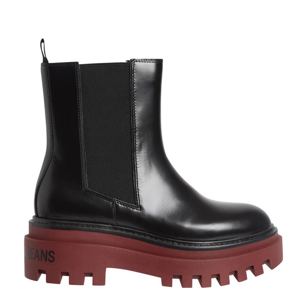 CALVIN KLEIN JEANS   leren chelsea boots zwart/rood, Zwart/rood