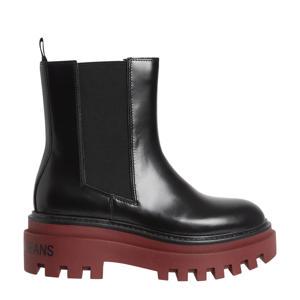 leren chelsea boots zwart/rood