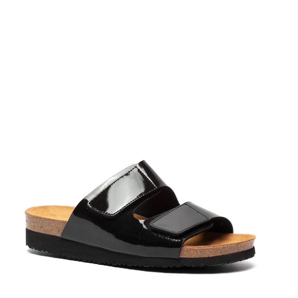 Hush Puppies   slippers lak zwart, Zwart