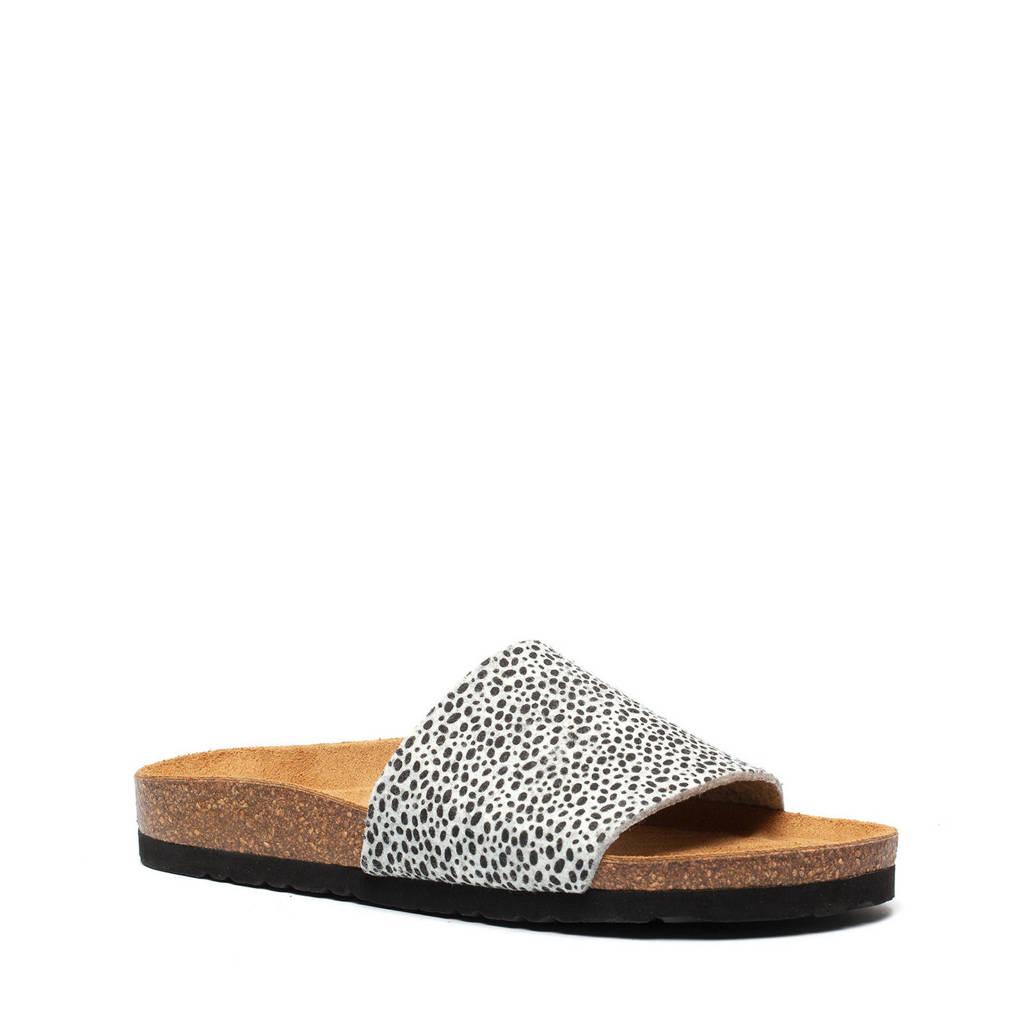 Hush Puppies   slippers met cheetahprint wit/zwart, Wit/zwart