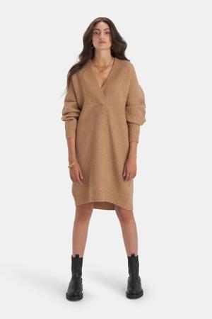 gebreide jurk Ava met wol bruin