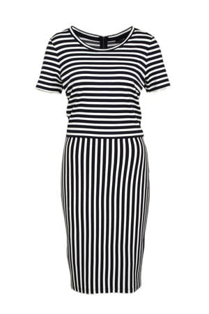 gestreepte jurk wit/donkerblauw