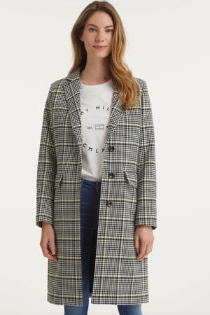 coat met pied-de-poule zwart/wit/neongeel