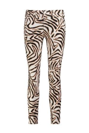 skinny jeans met dierenprint ecru/zwart/lichtbruin