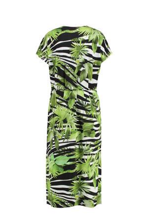 jurk groen/zwart/wit
