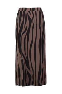 Expresso midi rok Goldy met zebraprint roodbruin/zwart, Roodbruin/zwart