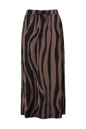 midi rok Goldy met zebraprint roodbruin/zwart