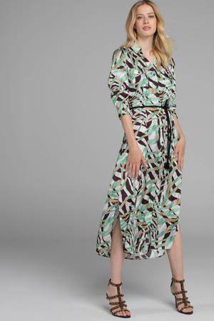 jurk met zebraprint mintgroen/wit/zwart