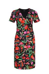 Claudia Sträter gebloemde jurk zwart/rood/groen, Zwart/rood/groen