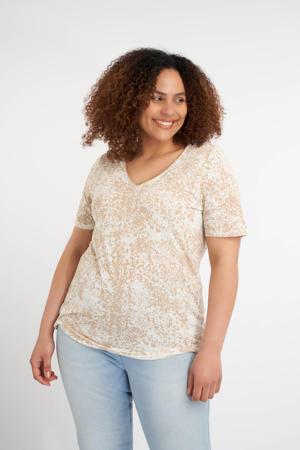 T-shirt met all over print en glitters ecru/beige