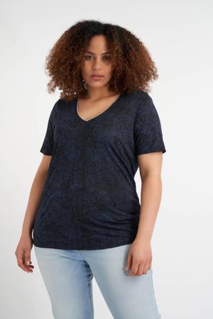 T-shirt met all over print en glitters donkerblauw/zwart/wit