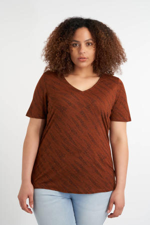 T-shirt met all over print en glitters roodbruin/zwart/goud
