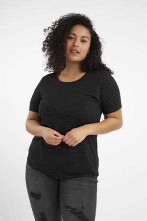 T-shirt met studs zwart/zilver