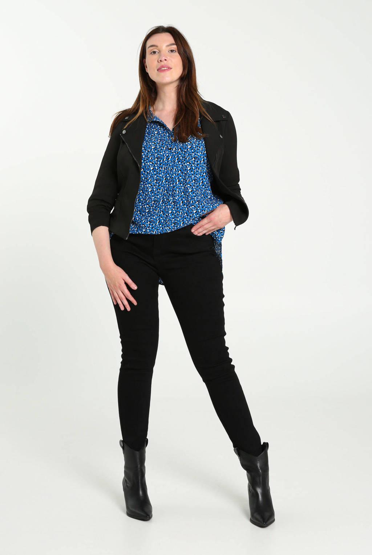 Cassis blouse met all over print bleu royal, Blauw/zwart/wit